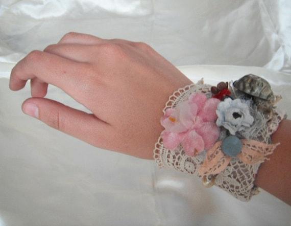 SALE 50% OFF------Angelica CUFF -Unique design-Vintage material-