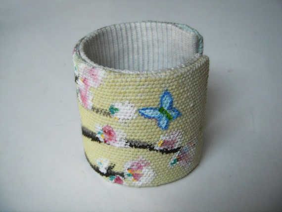 Handpainted SPRING adjustable CUFF / bracelet with Cherry Blossom and blue butterfly