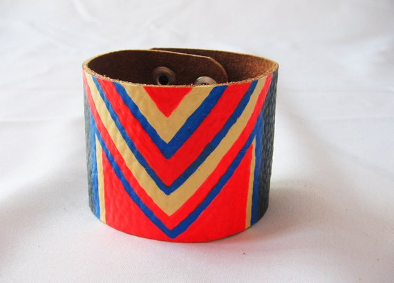 Colorful Tribal / Chevron Style / NEON (Blue, orange and beige) Leather Bracelet / Cuff