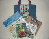 Denim Book Tote Bag (Large)