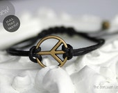 PEACE adjustable BLACK waxed cotton cord bracelet