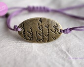 French style.- Adjustable handscript  charm bracelet  in Violet waxed cotton cord
