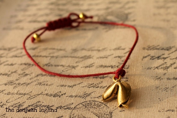 Last one My lucky Cookie- Fortune Cookie dark red adjustable bracelet