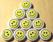 Happy Smiley Face Beads, 19mm, Acrylic, Plastic