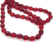 Siam Red Lady Bug Glass Beads, 6mm (25)