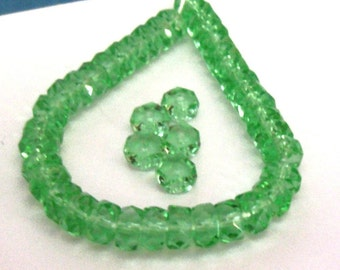 Peridot Green Fire Polish Glass Facet Rondelles, 6mm (25)