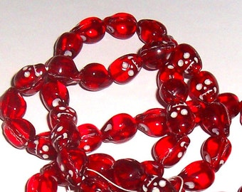 Skull Beads, Glass Red Transparent with white, 13mm (7)