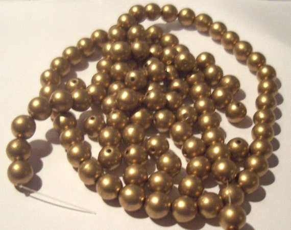 Vintage Gold metallic Glass Pearl Ball Beads, 7mm (30) Germany
