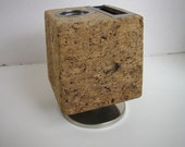 Vintage Cork Desk Accessory Thumbtack Board Message Pencil Holder Spins