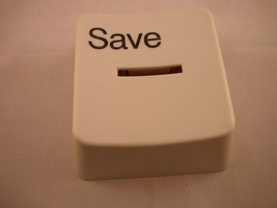 Vintage Save Button Coin Bank Desk Accessory Paper Weight Geeky Kitschy Retro