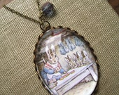 Peter Rabbit's Home Necklace (beatrix potter. magnifying pendant. art book illustration. fairytale jewelry. whimsical antique jewellery)