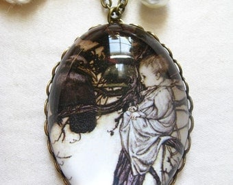 Peter Pan and Solomon Caw Necklace (arthur rackham. magnifying pendant. art book illustration. fairytale jewelry. whimsical jewellery)