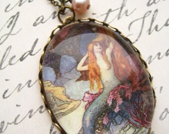 The Mermaid and the Dragon Necklace (magnifying pendant. art book illustration. fairytale jewelry. antique whimsical jewellery)