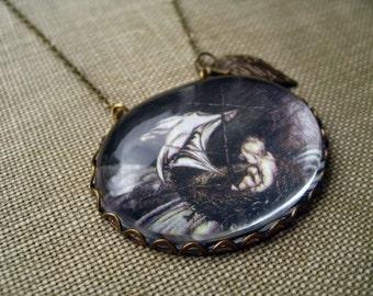 Peter Pan's Boat Necklace (arthur rackham. magnifying pendant. art book illustration. fairytale jewelry. whimsical jewellery)