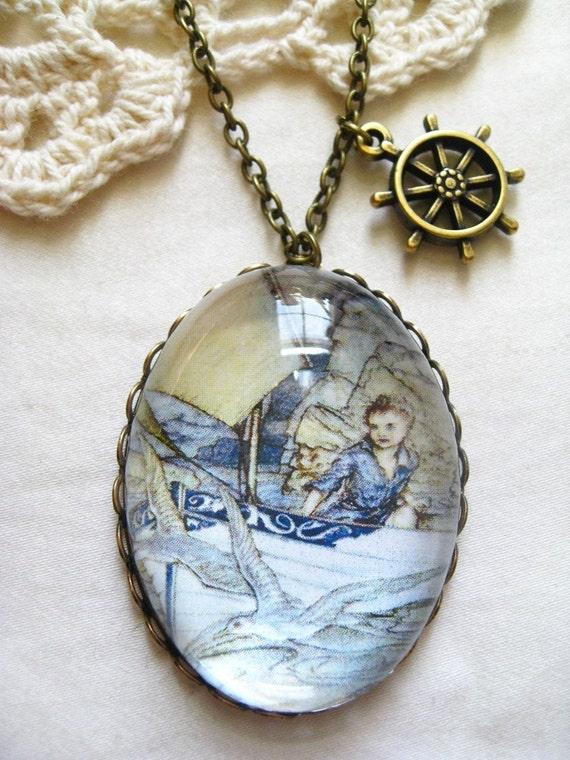 A Child's Future Necklace (arthur rackham. magnifying pendant. art book illustration. fairytale jewelry. whimsical jewellery)