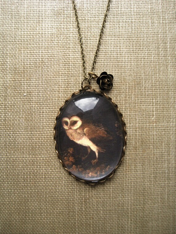 An Owl Necklace (magnifying pendant. art book illustration. fairytale jewelry. antique whimsical jewellery)