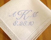 Swiss Lace Handkerchief with 3-Initial Monogram and Date
