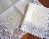 Wedding Handkerchief: Ivory Color Irish Linen Lace Handkerchief with 3-Initial Monogram and Date