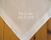 Men's Handkerchief with Bride and Groom's Names and  Date
