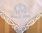 Wedding Handkerchief:  Ribbon Lace Handkerchief with 3-Initial Monogram and Date