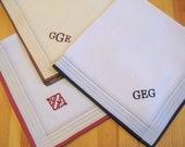 Set of 3 Assorted Color Fine Cotton Mens Monogrammed Handkerchiefs, Style No. 2