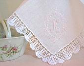 Princes Border Design 1-Initial Monogram on Crochet  Lace Handkerchief