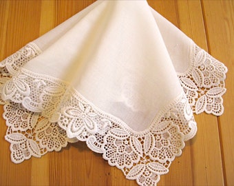 Wedding Handkerchief, Cream Color German Plauen Lace Handkerchief Style No. 40734 with Classic 3-Initial Monogram Wedding Handkerchief