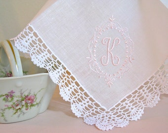 Princes Border Design 1-Initial Monogram on Crochet  Lace Handkerchief