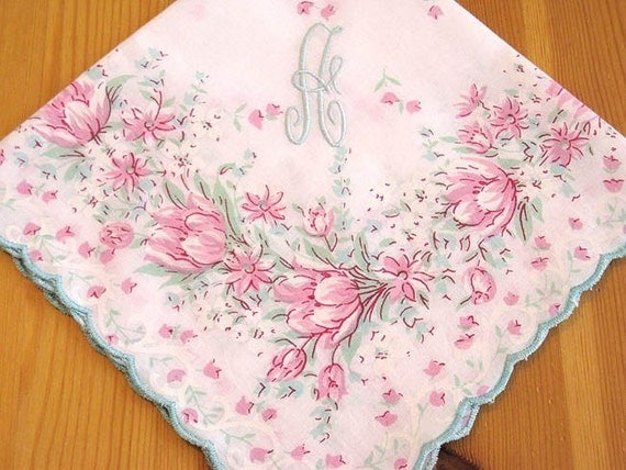 Printed Floral Hanky with 1-initial