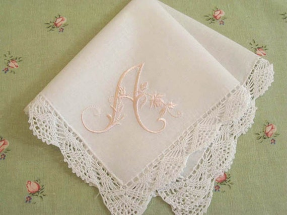 Monogrammed Handkerchief, Savannah Style 1 initial