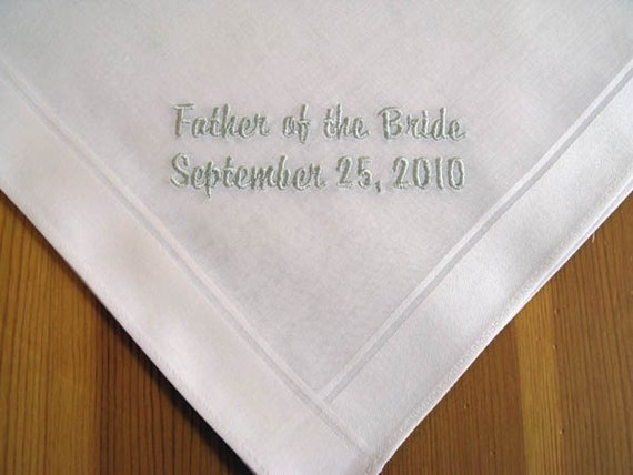 Men's wedding handkerchief personalized with Father of the Bride and wedding date