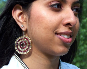 Masai Earrings, Beadwork, beaded, beadwoven Maasai Beadwork Earrings, Handmade with Gold Beads and Garnet (Large)