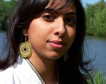Maasai Chartreuse and Gold Earrings (Large)
