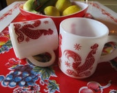 Red Rooster coffee mugs- Vintage red and white