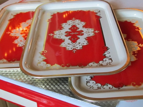 Vibrant Red and White Serving Trays- Beautiful Gold and Red design- Treasury Featured