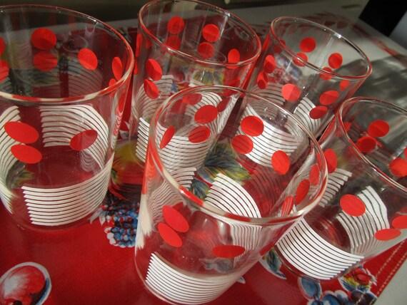 Red Polka Dot Glass Set 1950 S Barware By Vandyleevintage