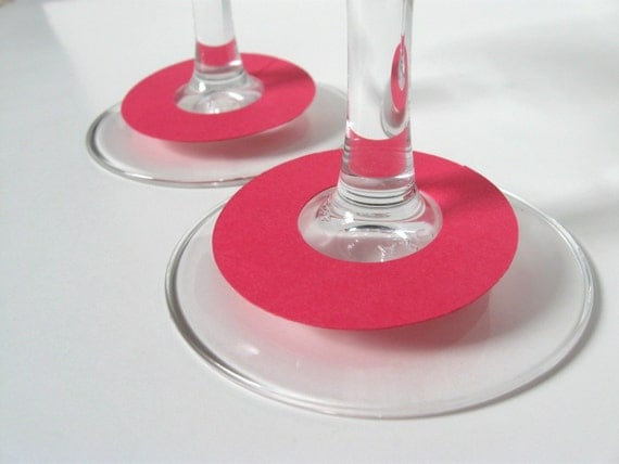 Hot Pink Wine Charms, Drink Glass Tags, Place Cards, Set of 15 -  Additional Quantities & Colors Available