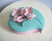 Mid Century California Pottery covered trinket box dresser dish speckled pink mint green applied dogwood blooms