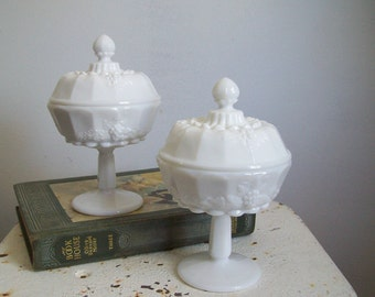 Pair milkglass covered compotes vintage Westmoreland Paneled Grape  perfect condition