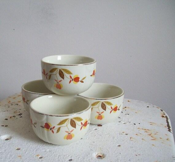 Hall China Co.  Autumn Leaf Jewel Tea Radiance set of four round custard cups