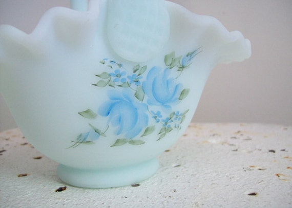 Vintage Fenton Hand Painted Basket Blue Roses On Blue Satin