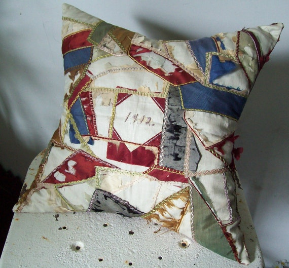 Crazy quilt pillow 1912 used and loved great color