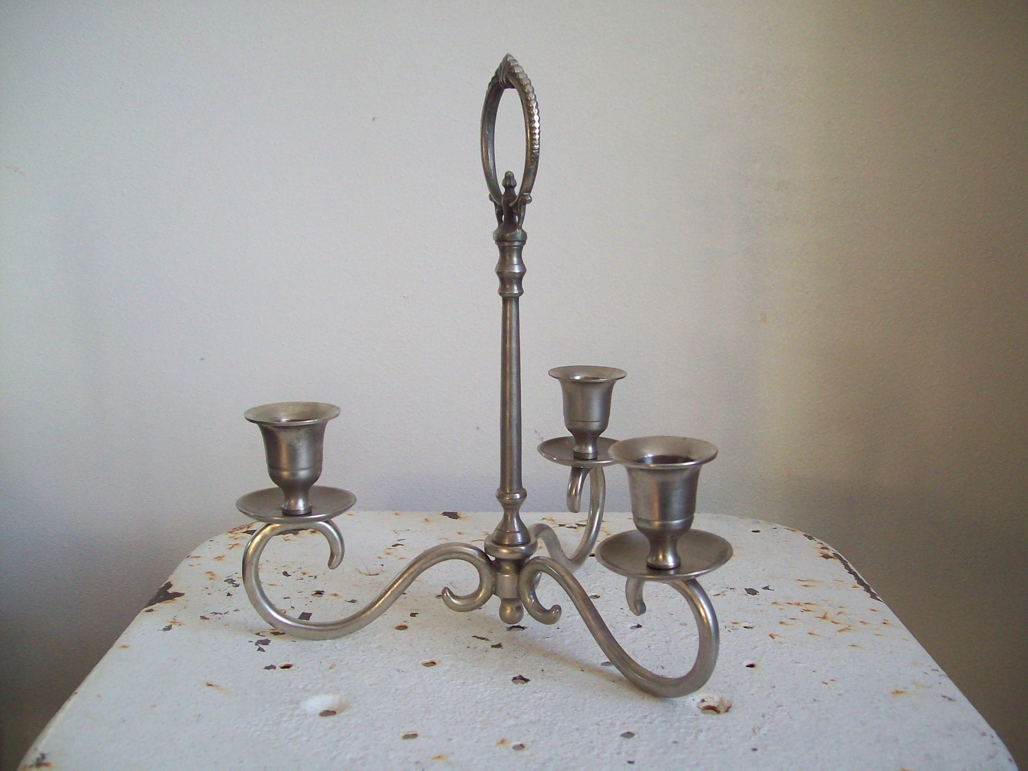 Vintage centerpiece triple metal candle holder