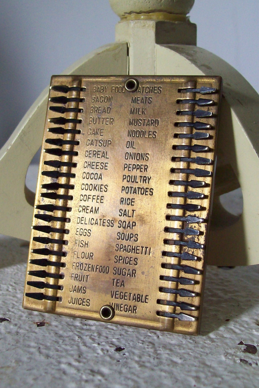 Vintage Metal Grocery List Pocket Size Free Shipping To Usa
