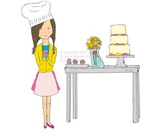 I Bake Cupcakes, Young Girl Art Print