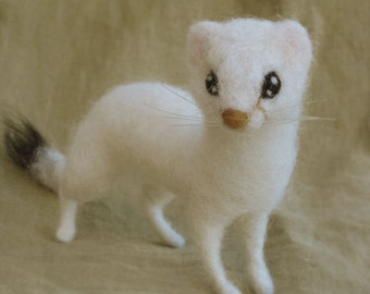 Needle felted animal, ermine weasel stoat, made to order see description