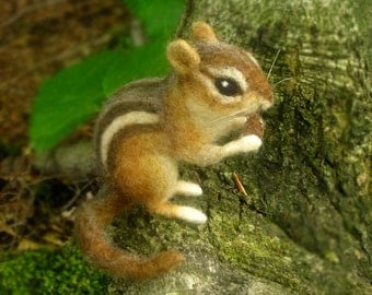 Needle felted chipmunk, life sized woodland animal, made to order