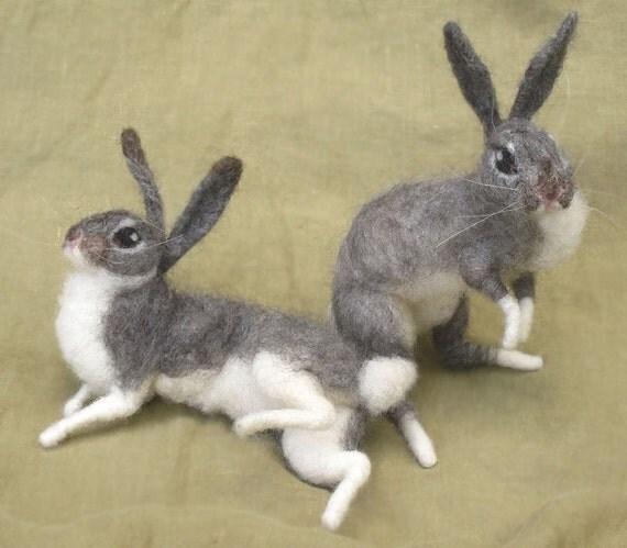 Needle felted grey bunny rabbit