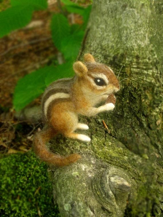 Needle felted chipmunk, life sized woodland animal, made to order