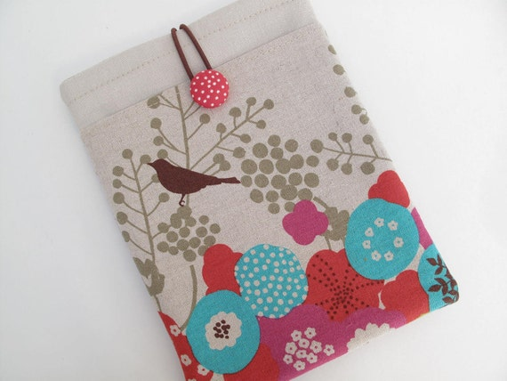 Japanese linen bird print kindle touch Kindle Voyage, Kindle Paperwhite and kindle case